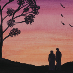 Couple at sunset with birds, watercolor